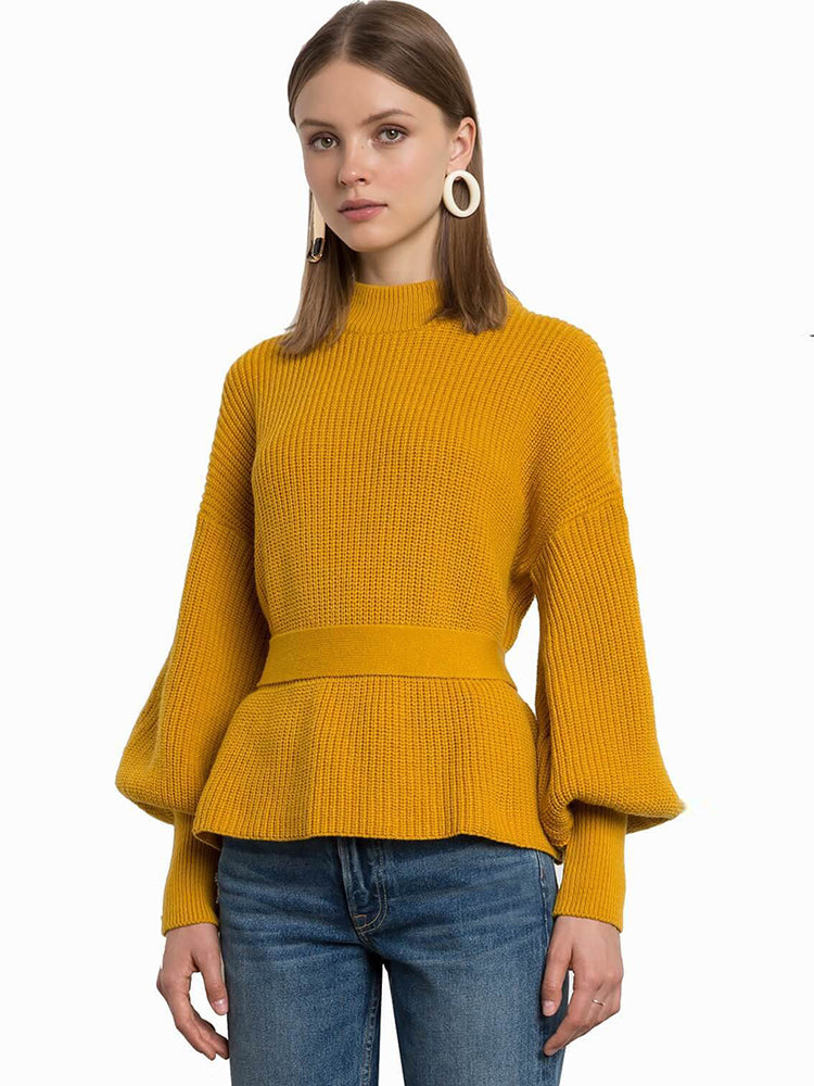 Simple Solid Color Lantern Sleeves Belt Sexy Halter Sweater