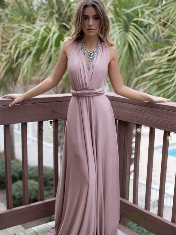 Sexy V-neck Halter Evening Dress Maxi Dress