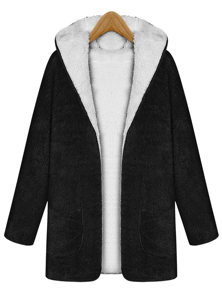 With Hooded Plain Faux Shearing Coat