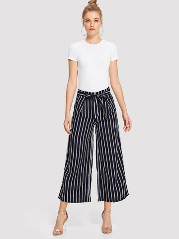 Striped Floral Belt Wide Leg Pants