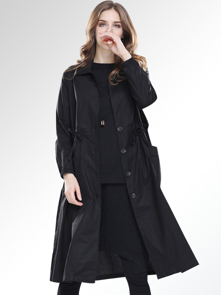 Lapel Neck With Pocket Plain Trench Coat