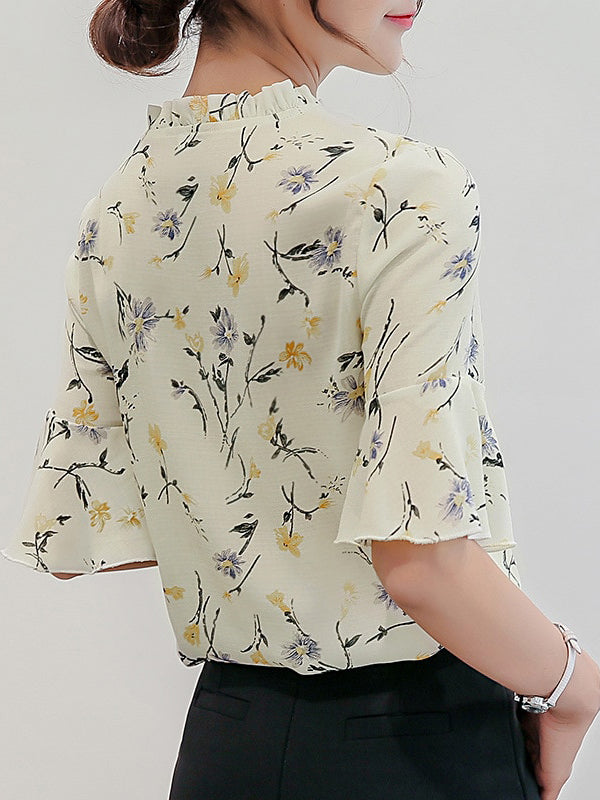 Fashion women' clothing Printed Bow Sleeve Shirt