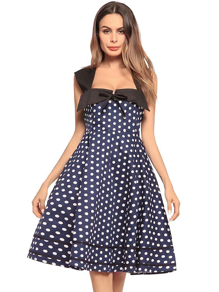 Square Collar Polka Dot Slim Midi Dress