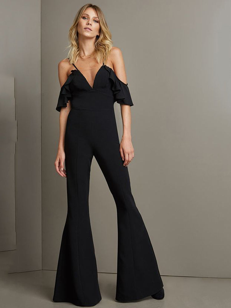 Sexy V-neck sling slim jumpsuit