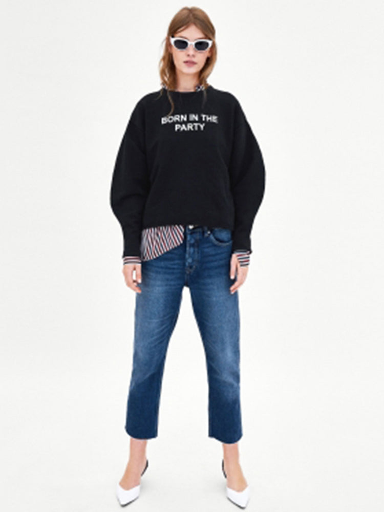 Letter Print Decorated Short Edging Sports Sweatshirt