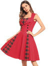 Red Plaid Stitching Dress Mid Dresses