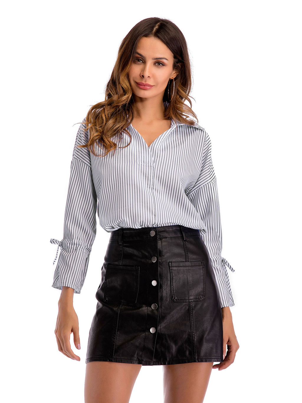 Deep V Neck Lapel Lace Sleeves Blouse - sparshine