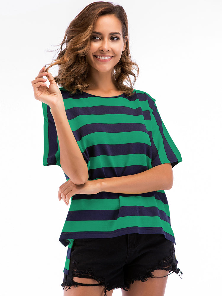 Striped Loose O Neck Knitting T-shirt