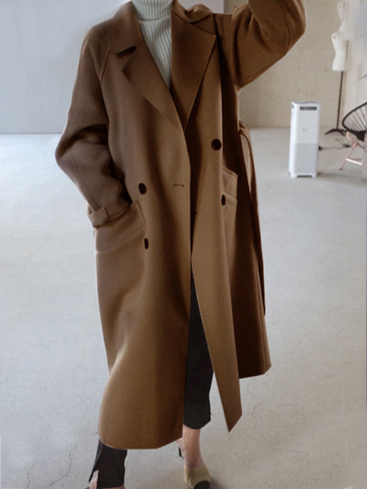 Double Breasted Plain With Belt Trench Coat
