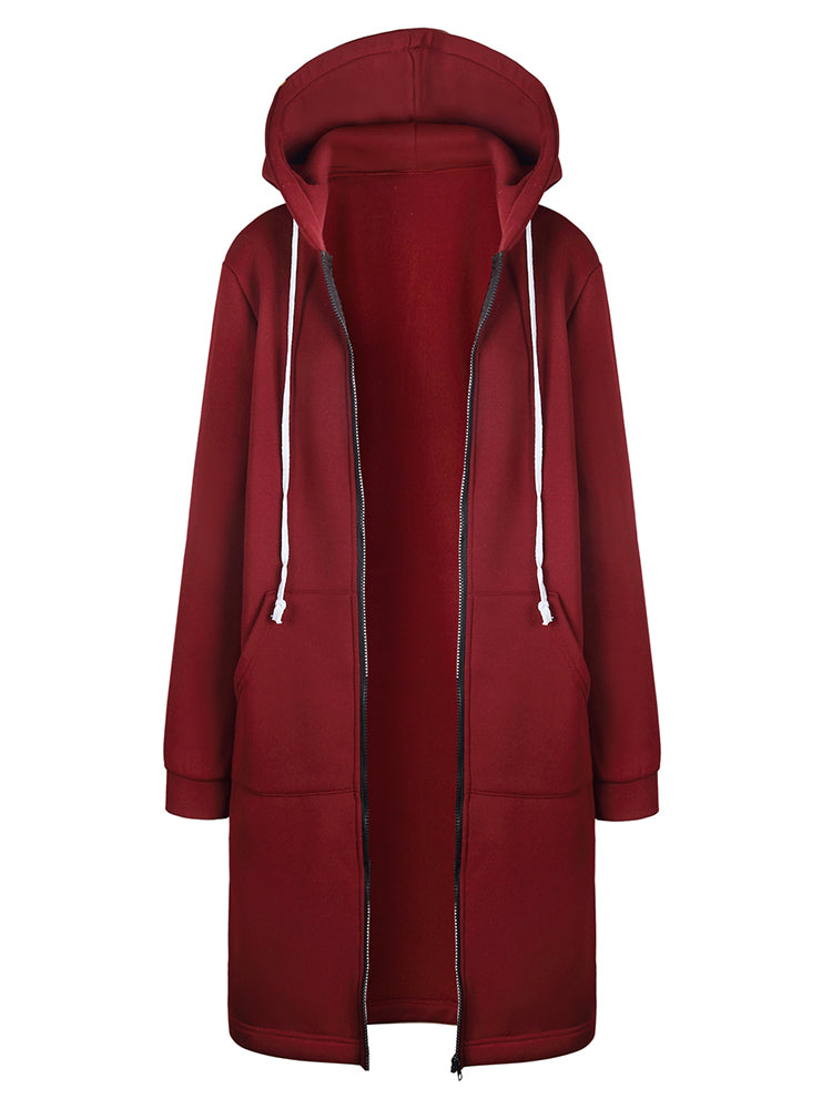Plain With Hooded Zipper Coat