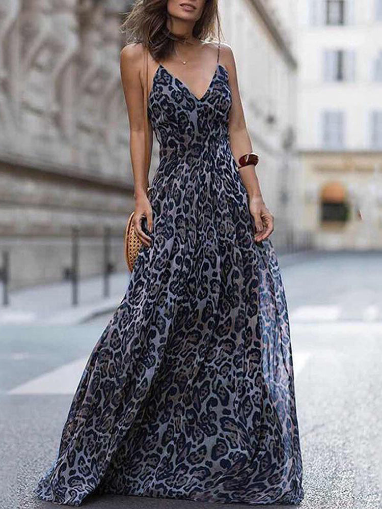 Sling deep v meck print long dress