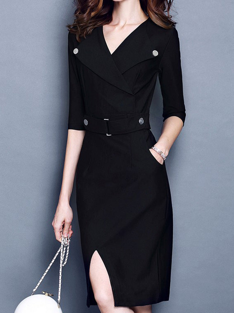Lapel five-point sleeves waist bodycon dress