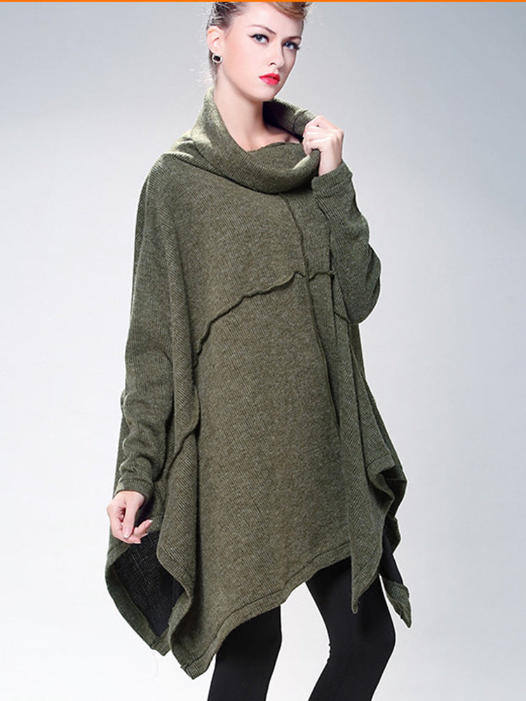 Plus Size High Neck Plain Cape