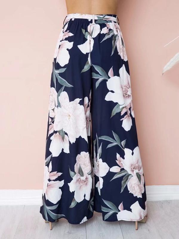 Floral Wide Leg Bottom Casual Pants