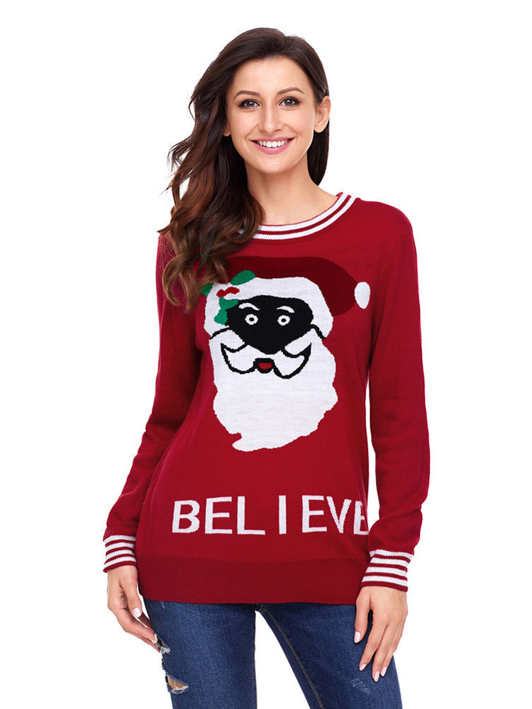 Santa Claus round neck long sleeve sweater