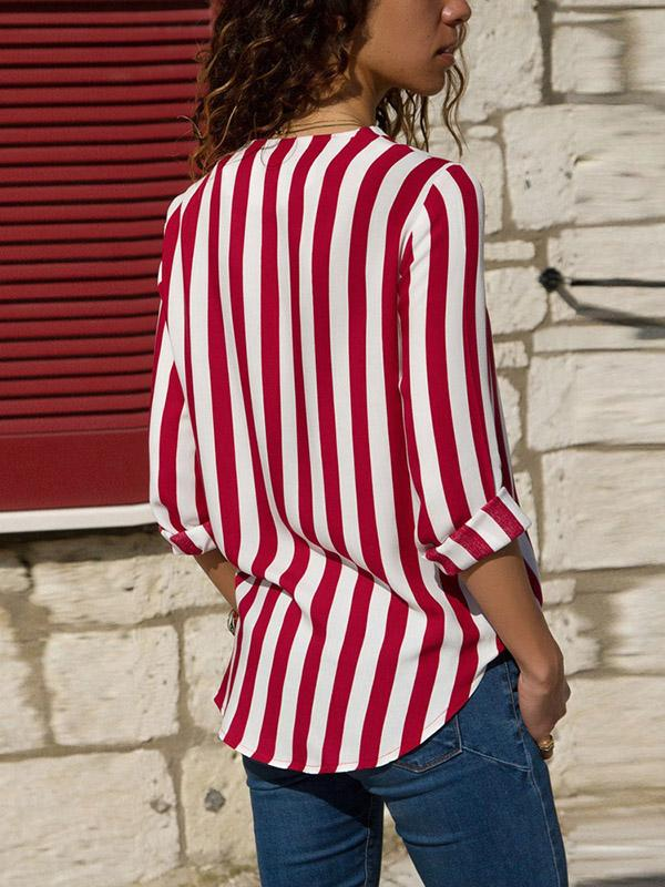 Striped V-neck Loose Blouses shirts Tops