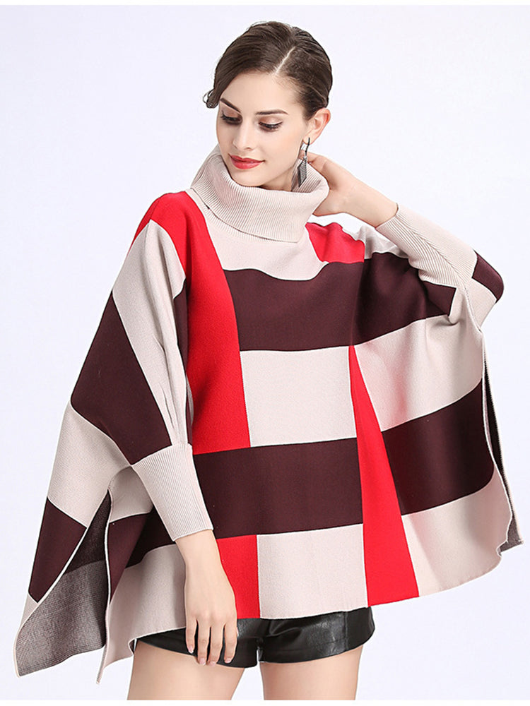 Grid High Neck Cape Coat