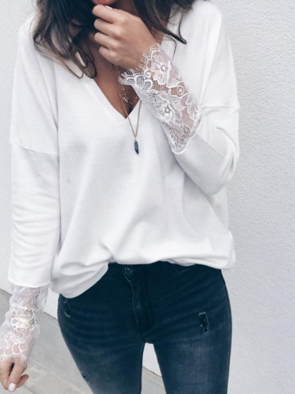 Fashion Lace Knitting Long Sleeves Sweater Tops - sparshine