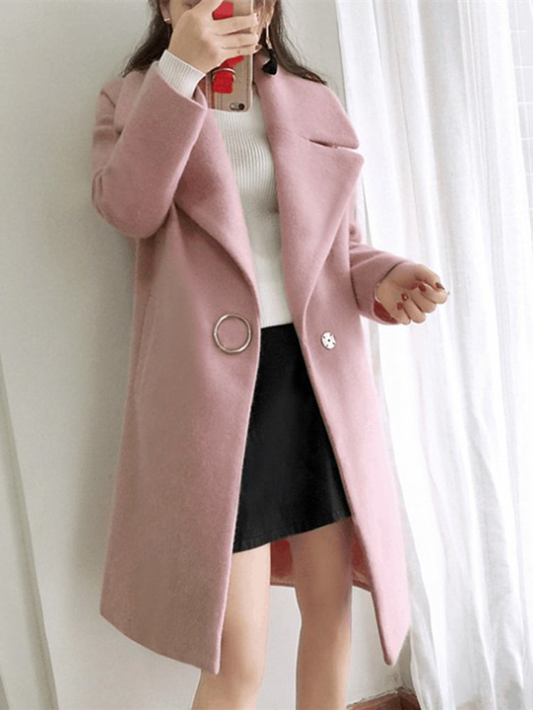 One Breasted Plain Trench Coats