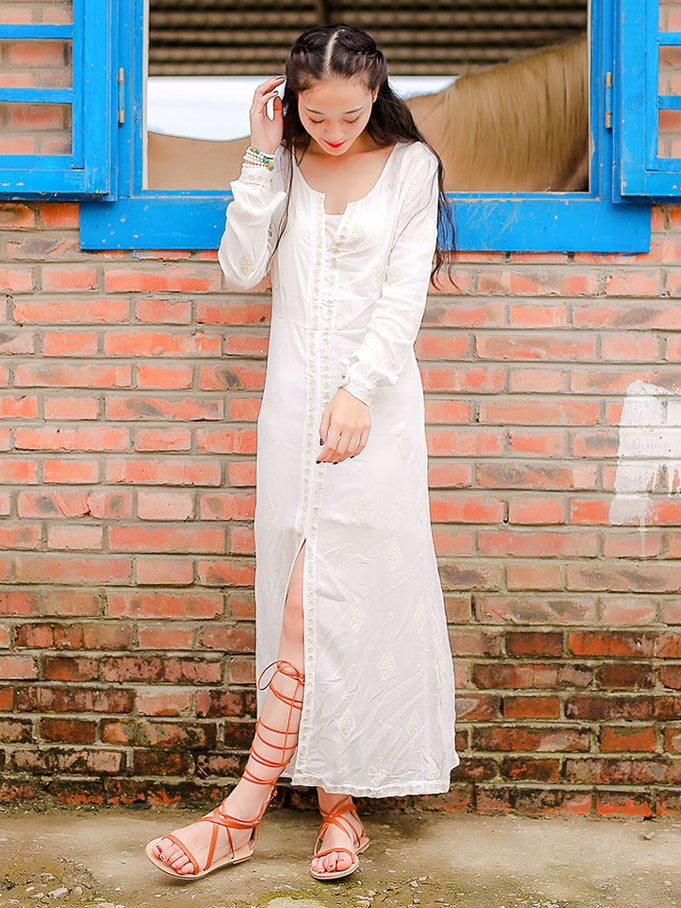 Embroidered Midi Sleeve Maxi Dress - sparshine