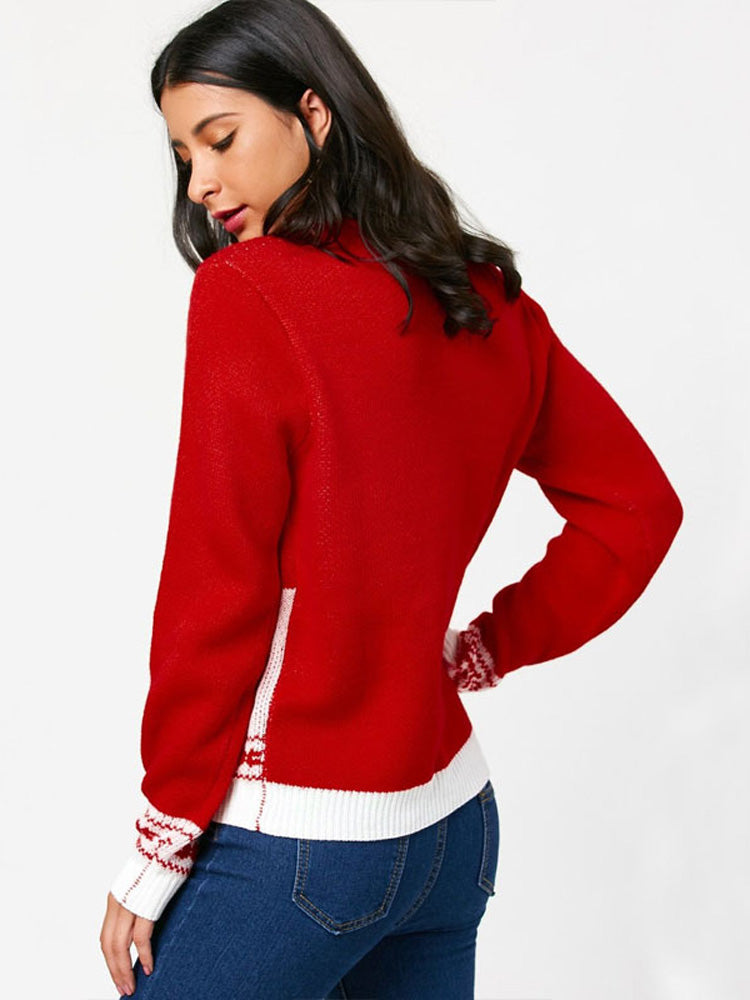 Loose Elk Red Snowman Jacquard Knit Sweater