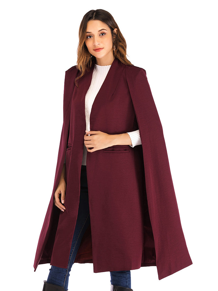 Plain Sleevess Cape Coat