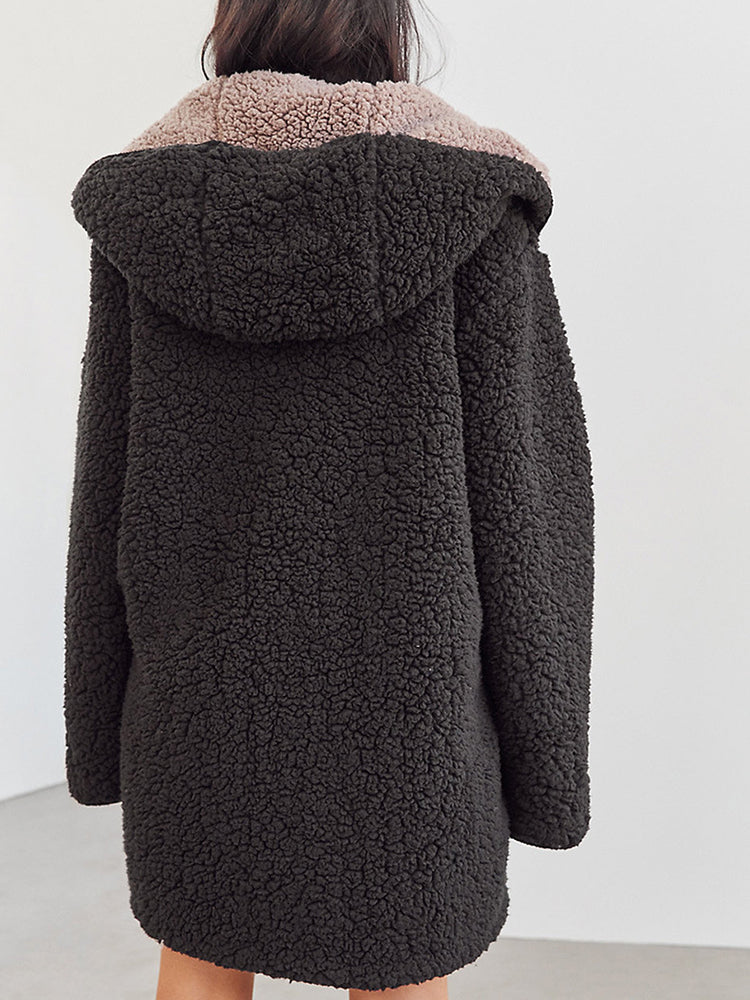 Faux Shearing With Hooded Warm Coat