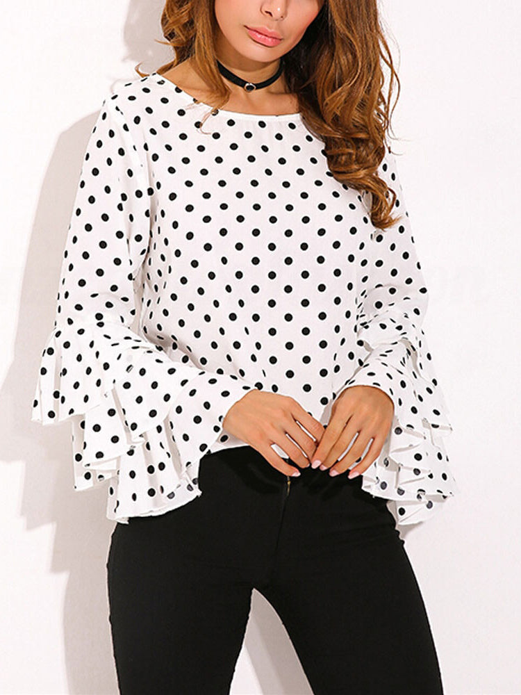 Trendy Clothes For Women Ruffled Sleeve Polka Dot O Neck Blouse