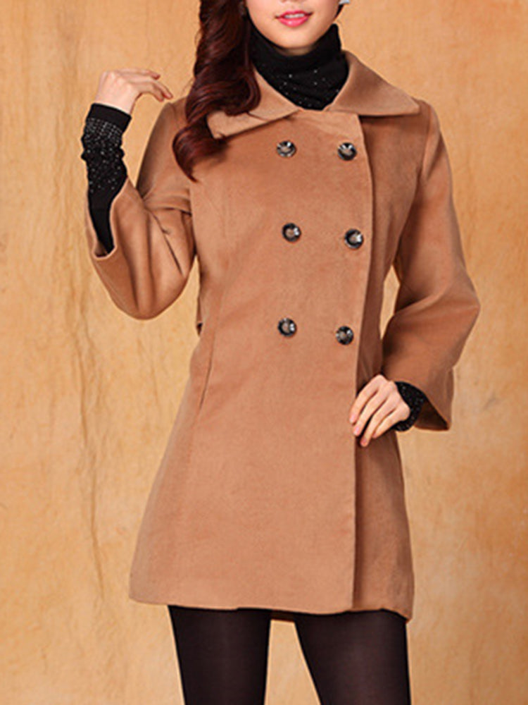 Double Breasted Plain Lapel Neck Trench Coat