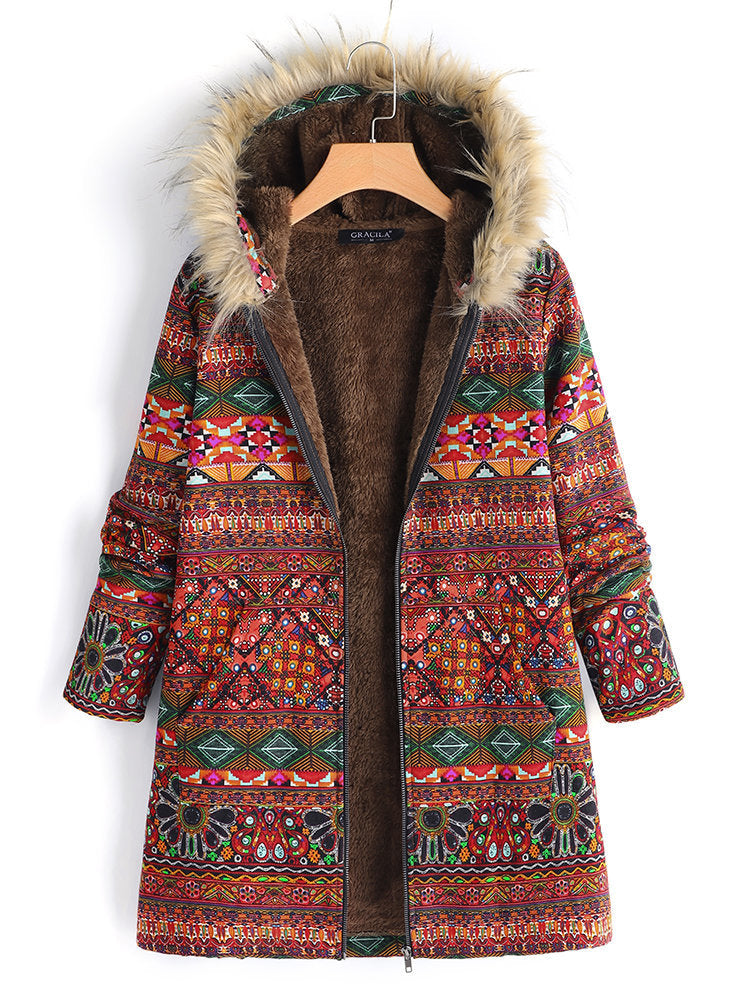 With Hodded Floral Printed Faux Fur Overcoat