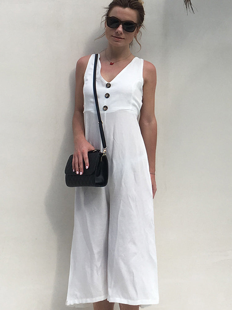 V-Neck Halter White Jumpsuit