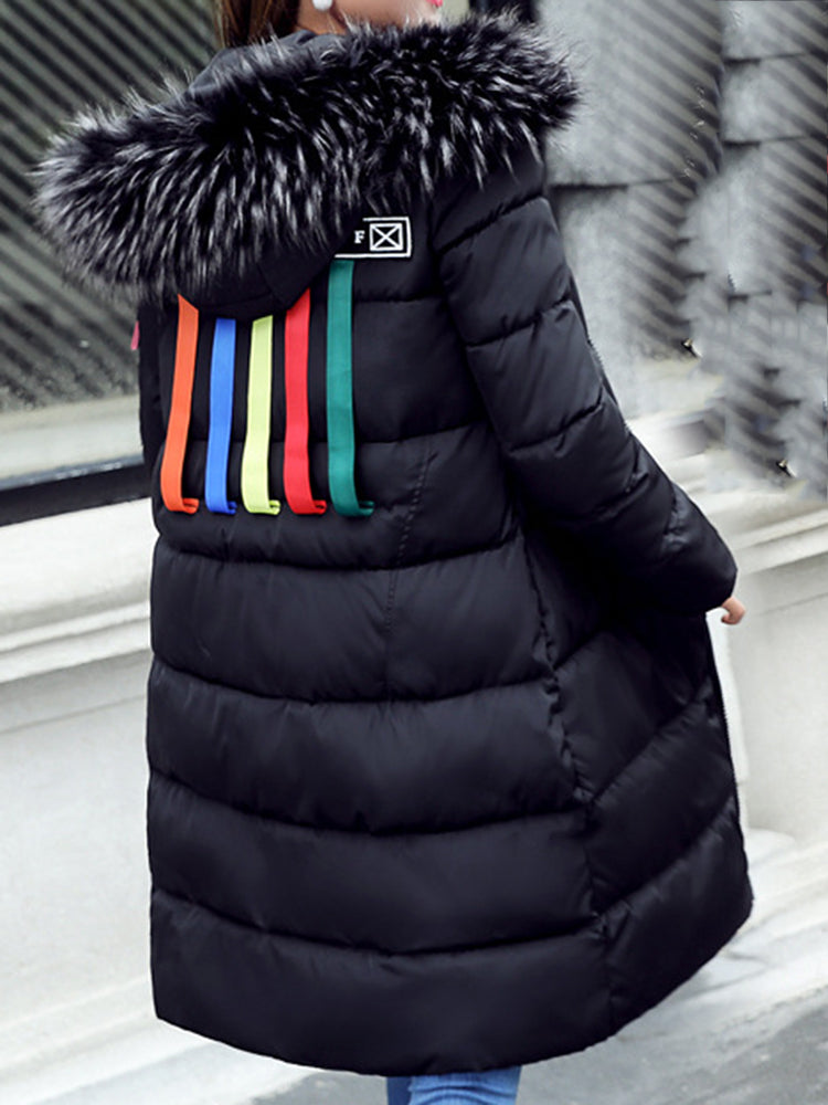 Rainbow Faux Fur With Hooded Down coat