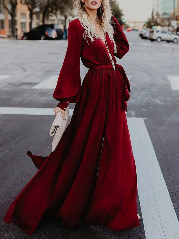 V-neck Long Sleeves Belted Solid Color Dress