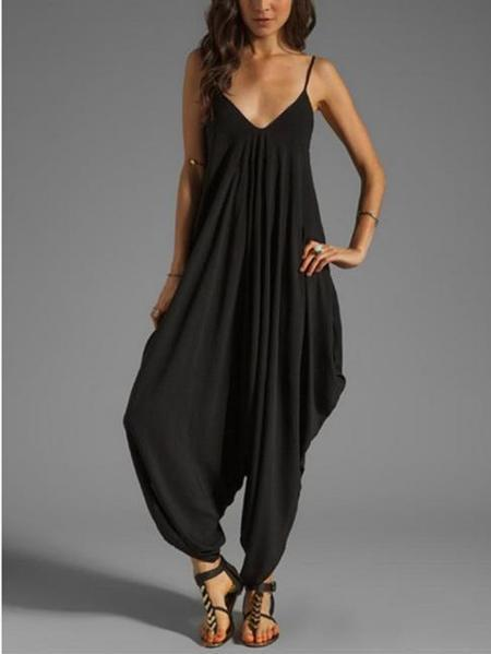 Loose Sling Deep V Neck Long Jumpsuits