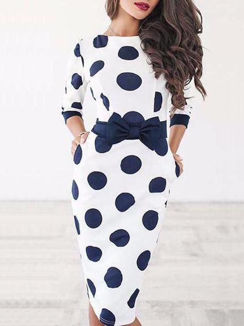 Sexy Bodycon Polka Dot Midi Dress