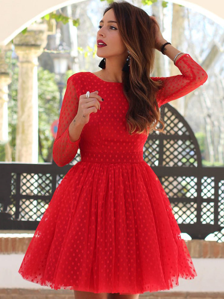 Long-sleeved polka dot sexy lace halter A-line dress
