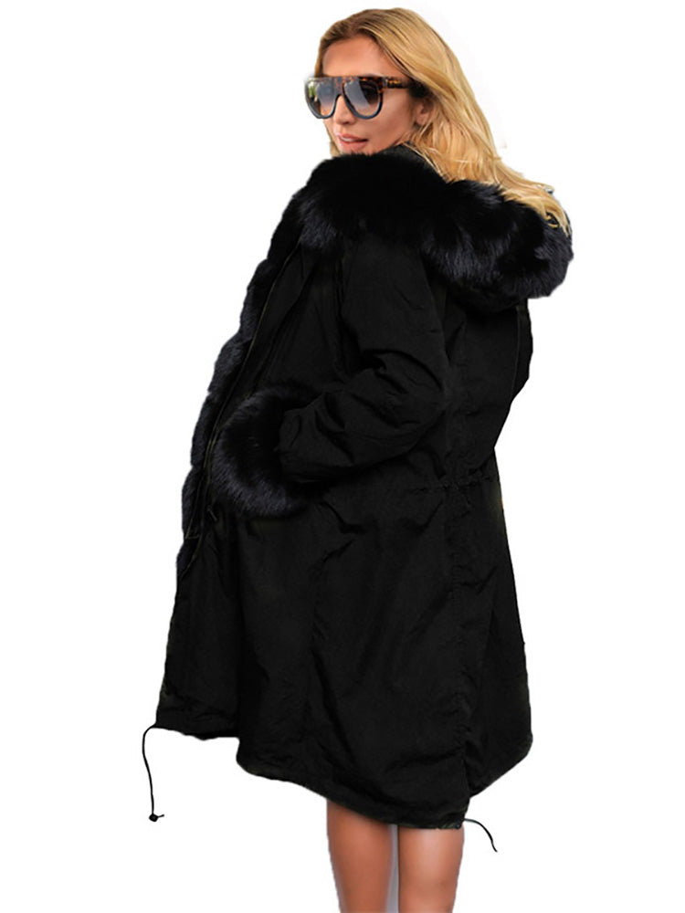 Long Faux Fur Solid Color Cotton Overcoat