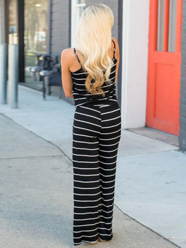 Striped Spaghetti-neck Jumpsuits