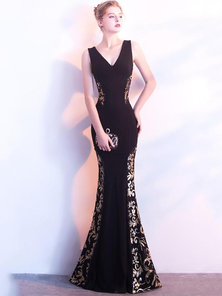 Fancy V Neck Long Party Formal Dress