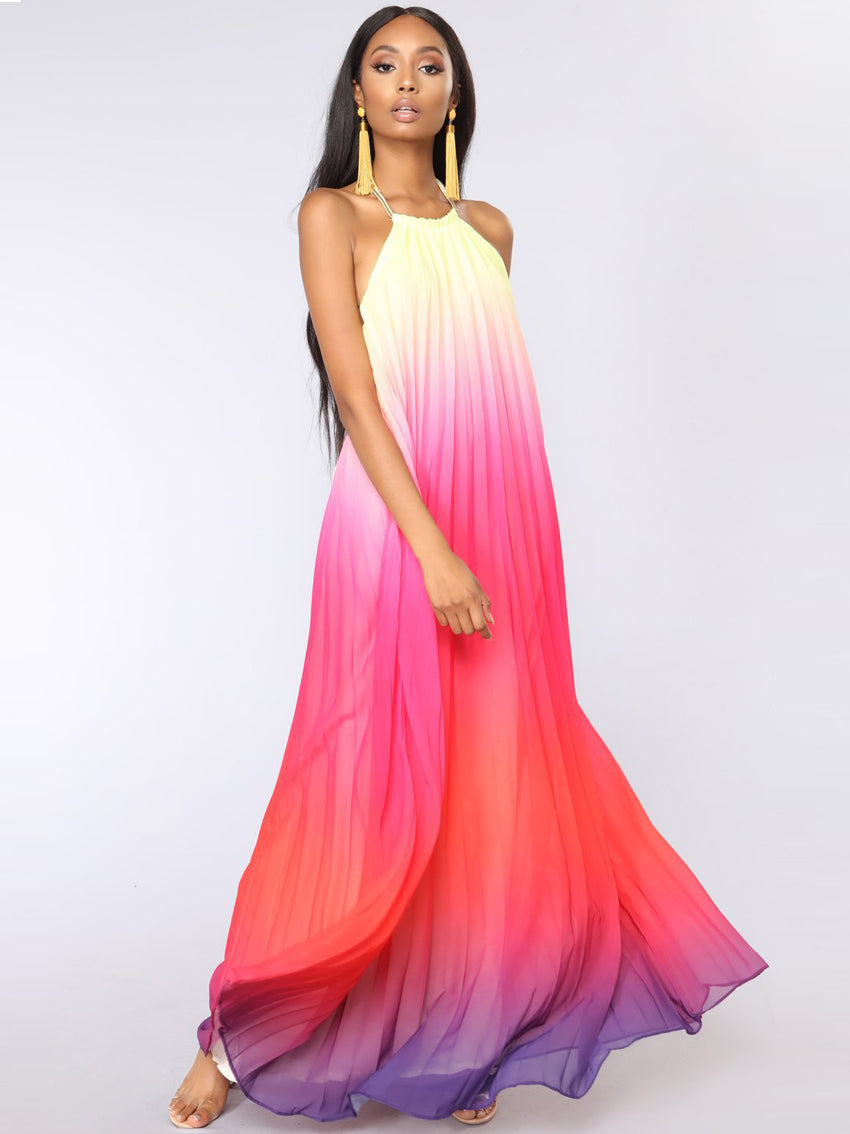 Open Back Halter Chiffon  Beach Dress