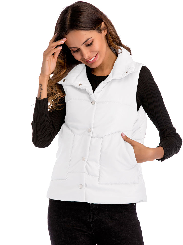 Button Up Warm Sleeveless Vest - sparshine