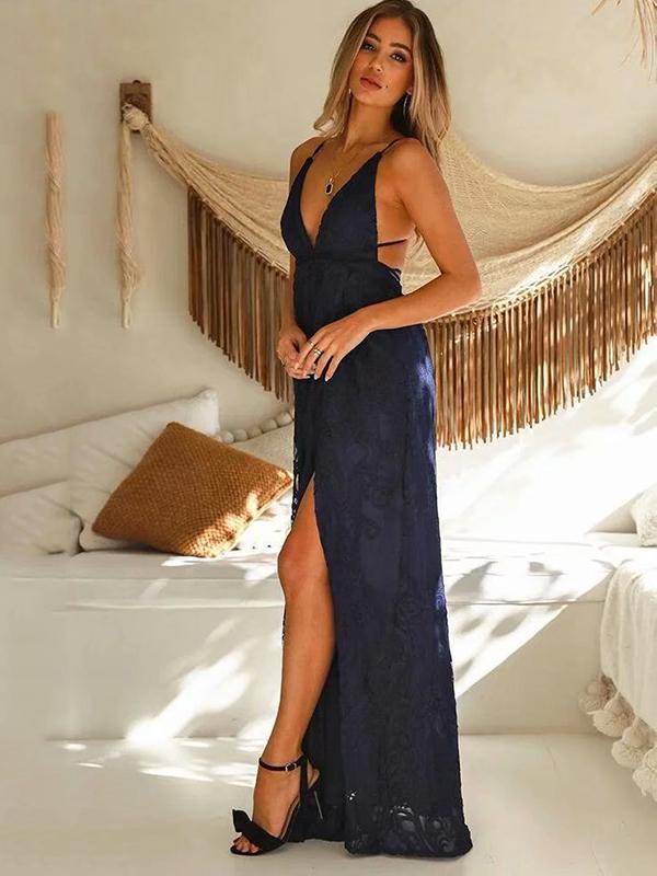Deep V-neck Backless Inwrought Maxi Dress - sparshine