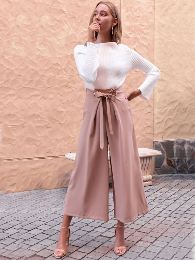 Belted Trousers Straight Wide Pants - sparshine
