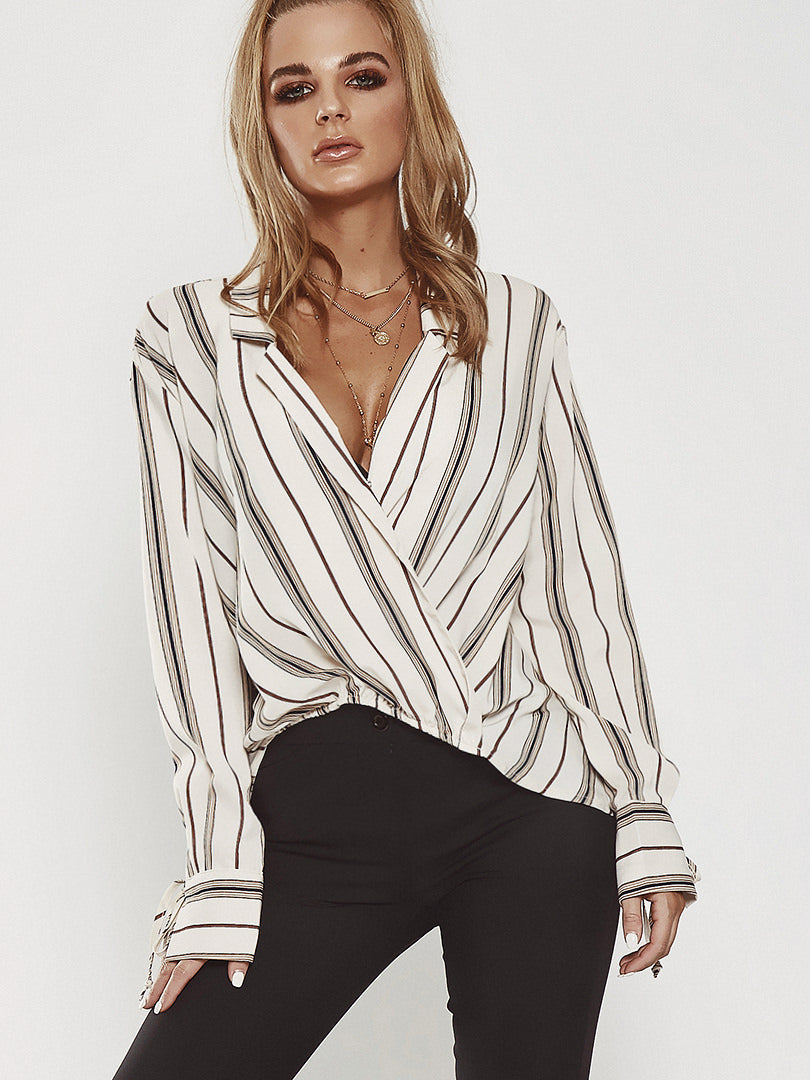 Sexy V Neck Straight Long Sleeved Striped Irregular Shirt