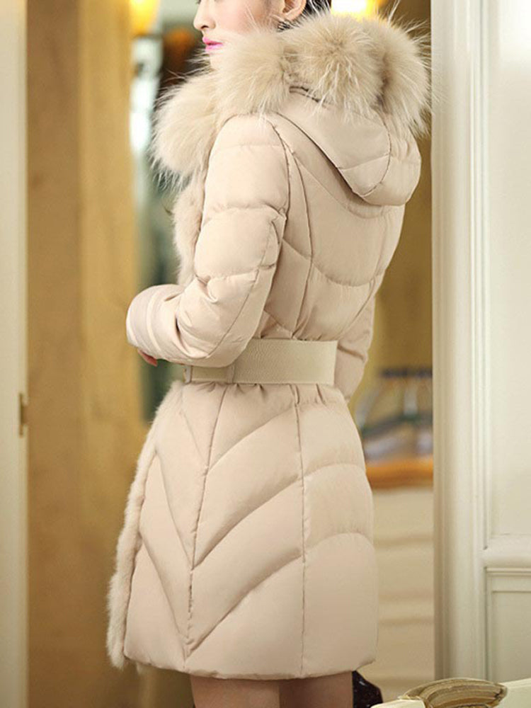 Faux Fur With Hooded Belts Down Coat