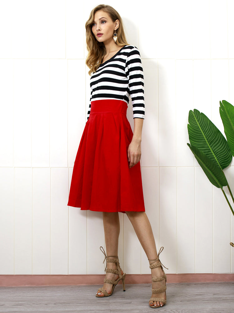 O-neck Striped Middle Sleeves Dress