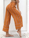 Printed Sexy Belt High Waist Loose Straight Nine Points Casual Wide Leg Pants