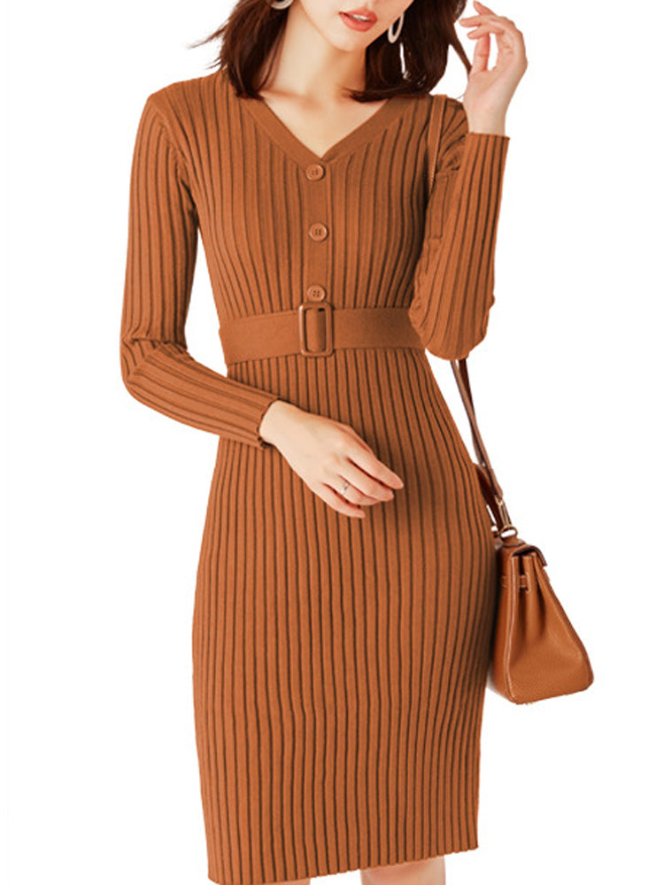 Long v-neck pullover knit bodycon dress
