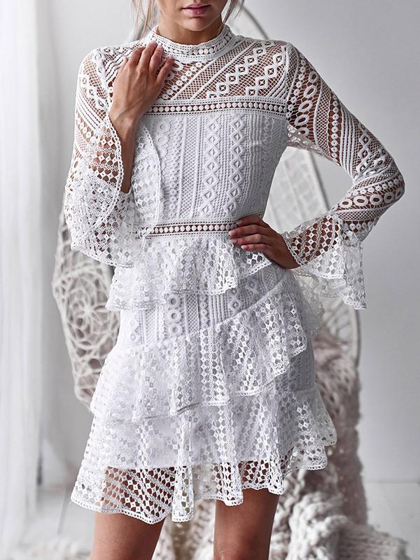 Solid Color Sexy Lace Long Sleeves Mini Dress