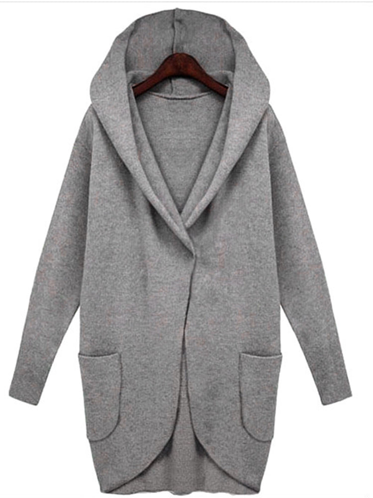Plain With Hooded With Pocket Coat